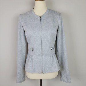 WHBM Grey Full Zip Front Pockets Ruffle Jacket 4